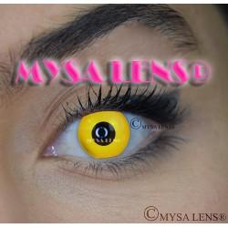Lentilles De Contact De Couleur Fantaisie Crazy Lens Yellow Out / Jaune De Marque MYSA LENS® 1 an