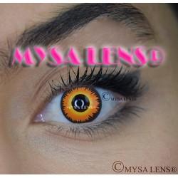 Lentilles De Contact De Couleur Fantaisie Crazy Lens  Loup Garou Orange / Orange Werewolf De Marque MYSA LENS® 1 an