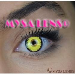 Lentilles De Contact De Couleur Fantaisie Crazy Lens  Loup Garou Jaune / Yellow Werewolf De Marque MYSA LENS® 1 an