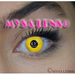Lentilles De Contact De Couleur Fantaisie Crazy Lens Yellow Out / Jaune De Marque MYSA LENS® 1 an