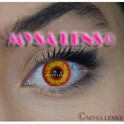 Lentilles De Contact De Couleur Fantaisie Crazy Lens Red Wolf / Loup Rouge  De Marque MYSA LENS® 1 an