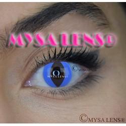 Lentilles De Contact De Couleur Fantaisie Crazy Lens  Chat Bleu / Blue Cat De Marque MYSA LENS® 1 an